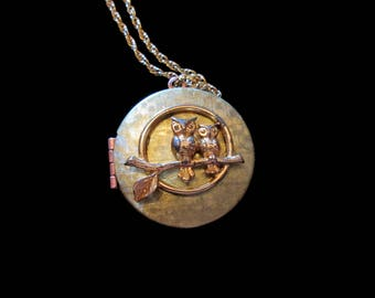Another Wise Couple Vintage Owl and Locket Necklace
