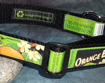Adjustable Dog Collar from Recycled Buffalo Bill's Orange Blossom Cream Ale Beer Labels