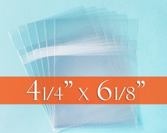 100 4 1/4 x 6 1/8 Inch Resealable Cello Bags for 4 x 6 Cards, Postcard Packaging, Tape on BODY