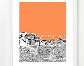 Chattanooga Tennessee Poster -  Chattanooga Skyline Art Print - Chattanooga TN