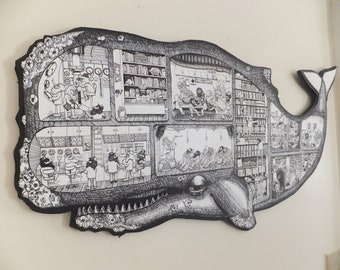 Large Whale Cutaway Screen print Illustration CUT OUT SHAPE