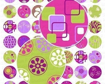 Modern Chic in Purple Digital Collage Sheet - 1 Inch Round Circles - Instant Download
