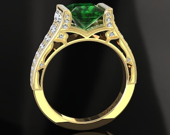 Emerald Engagement Ring 1.35 Carat Princess Cut Emerald And Diamond Ring In 14k or 18k Yellow Gold. Matching Wedding Band Available W25GY