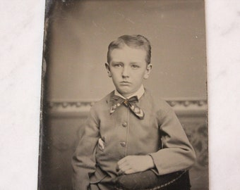 Tintype Photograph of a Young Boy with a Bowtie, Antique from the 1800s, #TT24