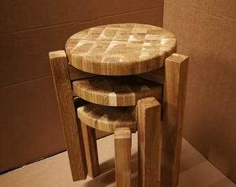 STOOL Solid wood oak TRIO-2