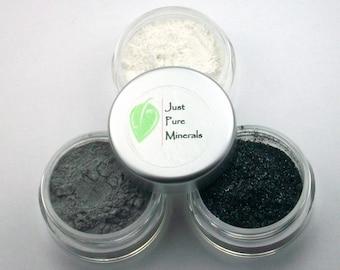 Intense Black Eye Shadow Trio - Cruelty Free Mineral Eye Shadow- 3g of product in each 10g sifter jar
