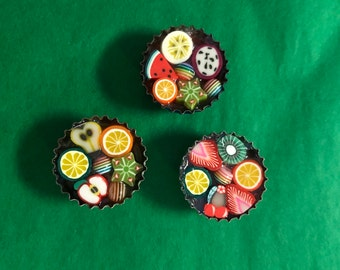 Bottle Cap Magnets - Fruit