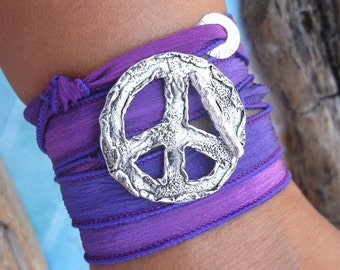 Peace Sign Jewelry, Peace Sign Wrap Bracelet, STERLING Silver Jewelry, Hippie Jewelry Boho Bracelet, Boho Fashion, Peace Silk Wrap Bracelet