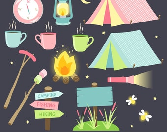 Camping Clipart, Camping Clip Art, Digital Camping, Tent Clipart, Printable, Commercial Use