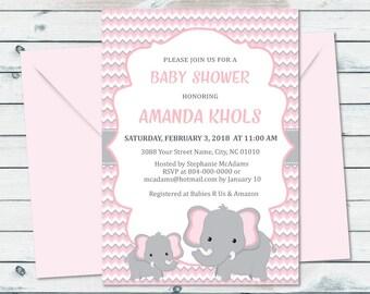 Pink Elephant Baby Shower Printable Invite, Elephant Baby Shower Invitation, Pink And Gray Chevron Printable Invitation, Elephant
