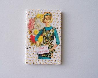 Retro Kitchen Magnet Miniature Art Piece Collage with Vintage Cook