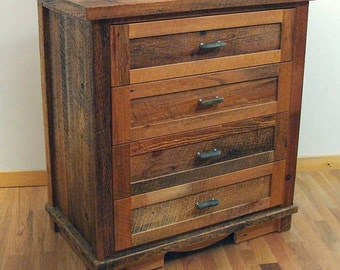 Reclaimed barn wood Rustic Log Drive 4-Drawer Dresser