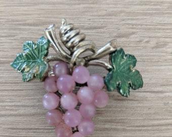 Pink Grape Cluster Pin Vintage