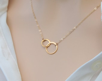 Gold Eternity Link Necklace, Friendship Jewelry Gift, Sisters Eternity Necklace, 24k Gold Vermeil Double Circle Ring Necklace, Birthday Gift