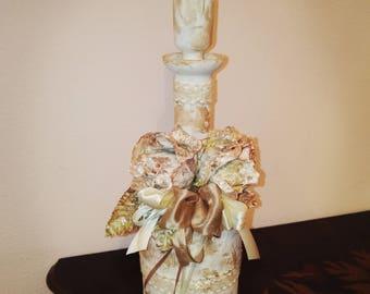 bottiglia shabby anticata con rose-Glass bottle shabby with roses
