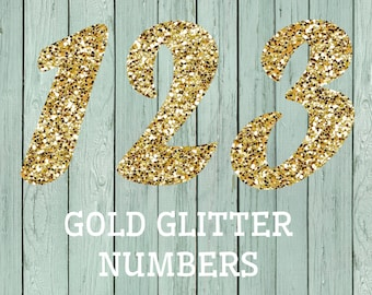 Gold Glitter Numbers (0-10) Clipart- Transparent background PNG files *****INSTANT DOWNLOAD****