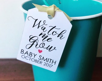 """Watch Me Grow Tags (1.3"""" wide), Watch Me Grow Baby Shower Favor Tags, Seed, Plant or Succulent Baby Shower Favor Tags, Listing for Tags Only"""