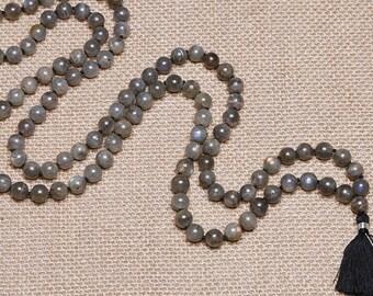Labradorite Mala 108 knotted beads Jap Mala Beads 108, Mala Bead Necklace, Mala Necklace, Meditation Beads, Japa Mala, Prayer Beads