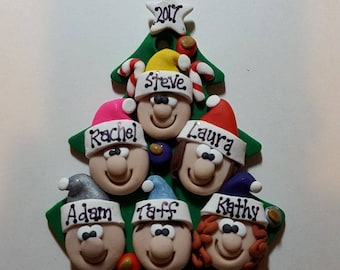 Polymer Clay ornament Family Tree Christmas ornament Personalized ornament family ornament