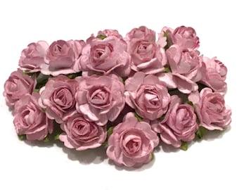 Dusky Pink Open Mulberry Paper Roses Or090