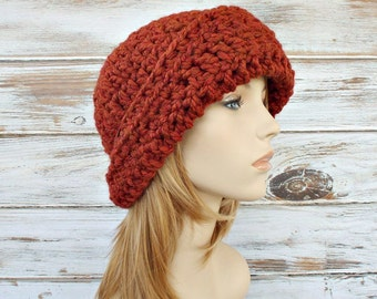 Crochet Hat Womens Hat 1920s Flapper Hat - Garbo Cloche Hat in Rust Orange Crochet Hat Orange Hat Womens Accessories