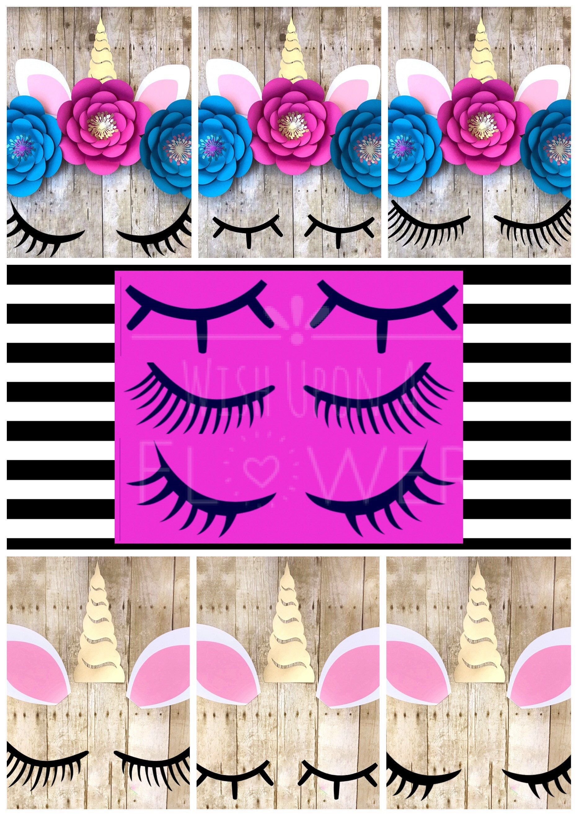 Unicorn Eyelash Template 3 Unicorn Lashes Unicorn Svg