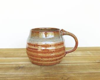 Pottery Mug in Shino and Sea Mist Glazes, Ceramic Cup, Rustic Stoneware Mug, Coffee Mug Handmade