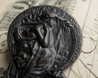 "Art Nouveau Mucha ornament  ""Poetry"" antiqued brass stamping, aged black patina, 45mm, 1 3/4 inches Harvest Maiden OR-FF-017"