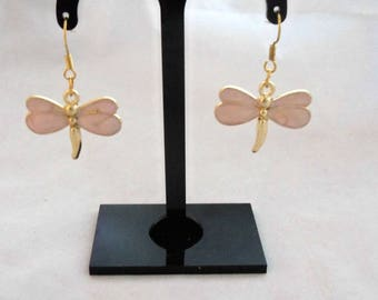 Gold Plate andPink Enamel Dragonfly Earrings (1098)