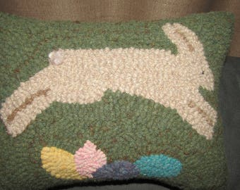 Primitive Hooked Rug  Bunny Rabbit Jumping over Eggs Pillow, Folk Art