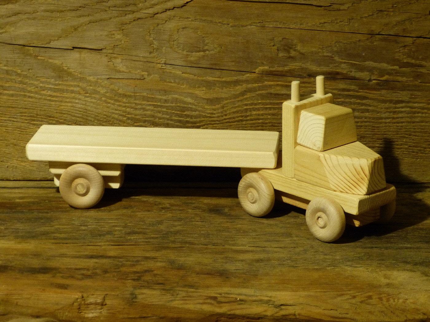 Hecho a mano carro juguete madera plana verde Trailer