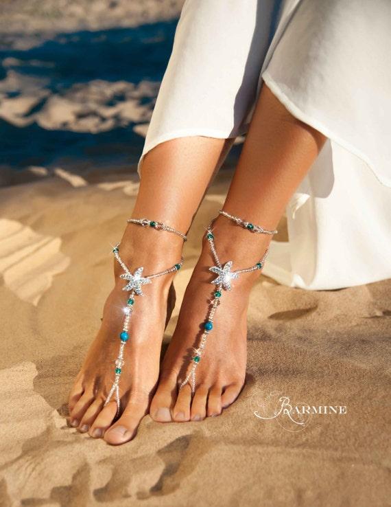 Beach wedding barefoot sandals bridal foot jewelry rhinestone junglespirit Choice Image