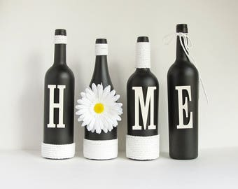 Black Home Wine Bottle Set, Home Bottle Set,  Rustic Bottle Set, Twine Wrapped, Painted Bottles, Wine Bottle Decor, Country Decor