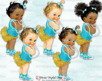 Turquoise Teal Gold Ruffle Pants Sneakers Pearls | Vintage Baby Girl | African American Skin Tones | Clipart Download