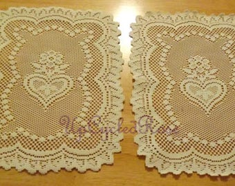 Vintage Lace Dresser Scarves X2 Farmhouse Collection Ships Free in USA Next Day
