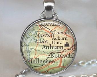Auburn University necklace, AU pendant Auburn Tigers jewelry Auburn Alabama map jewelry student alumni graduation gift key chain key ring