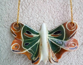 Butterfly pendant , Porcelain hand painted green  jellow butterfly .Porcelain jewelry .