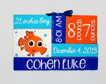 Baby Nemo Inspired Nursery Baby Birth Stat WoodenBlock Shelf Sitter Stack