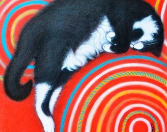 Charlie. Original Heidi Shaulis contemporary tuxedo cat oil painting