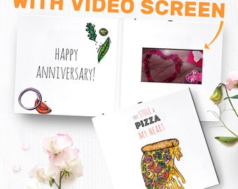 Unique Anniversary Card With Video Screen | Unique Anniversary Gift, Cheesy Anniversary Gift, Pizza Greeting Card 00029