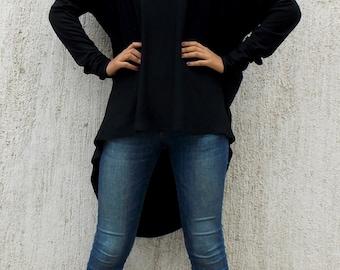 Plus Size Black Asymmetrical Tunic / Extravagant Waterfall Drape Tunic Top TT28