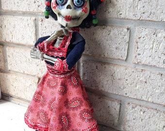 Dia de los Muertos (Day of the Dead) Skeleton Art Doll - Folk Art Style