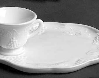 Harvest Grape Milk Glass Snack Plate w/cups