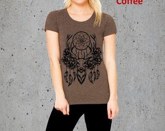 Womens Elk Deer Dreamcatcher Hand Screen Printed T Shirt, American Apparel Tri Blend Custom, S M L XL, Christmas Gift Ideas For Her, Gifts
