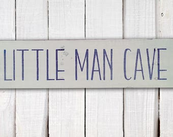 Hand-painted wood sign, Little man cave