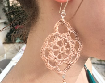 Crocheted earrings rose gold L