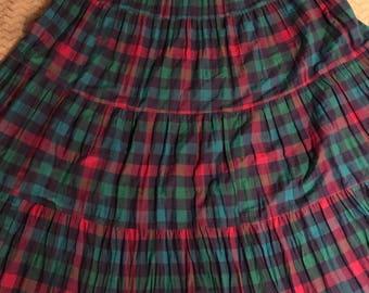 Vintage Plaid Skirt. Hippie Skirt. Vintage Plaid Spring Skirt. Plaid Summer Skirt. Long Skirt.