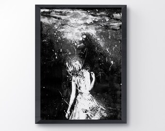 Mermaid, Black And White Art, Art Print, Drown, Girl In Water,  Contemporary Art, Sad Art, Water Art, Abyss, Wall Art, Acrylic Painting,