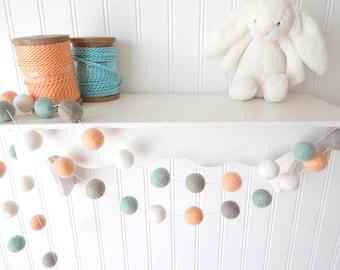Peach and Mint Garland, Coral Nursery Garland, Felt Ball Garland, Baby Nursery Decor, Pom Pom, Baby Shower, Peach, Mint Gray, Gender Neutral