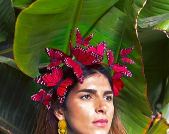Corazón Red Butterfly Fascinator Crown, Festival Flower Crown, Headpiece, Butterfly Headpiece, Day of the Dead